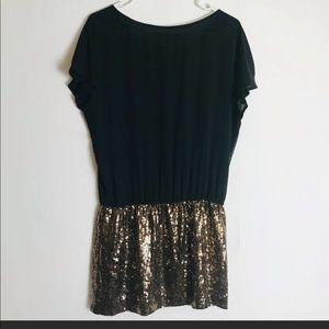 Express tshirt dress drop waist gold sequin skirt